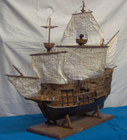 "Model of Giovanni's ship, ""La Dauphine"" at the Martine Museum of Rouen, France."